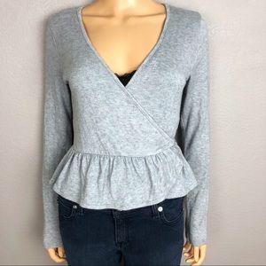 Forever 21 Wrap Cardigan Sweater Peplum Ruffle Hem